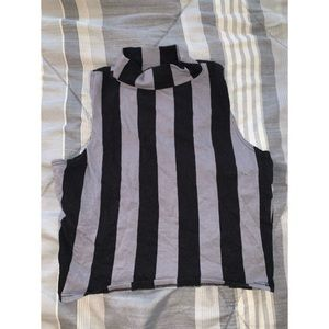 Grey and Black Striped Turtle Neck Crop Top